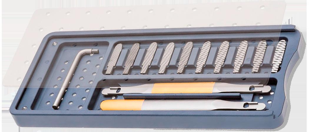 Стандартный набор модульного назального рашпиля по FOMON, с твердосплавными вставками.